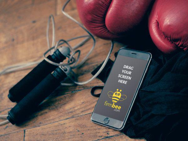 Boxing equipment and iPhone 6 free mockup