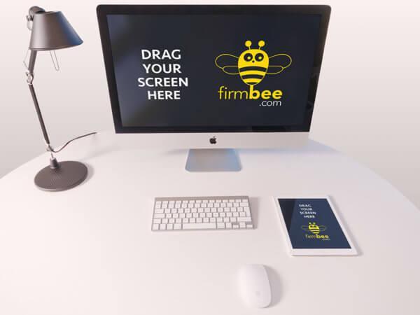 Designer-workplace-scenery-free-mockup