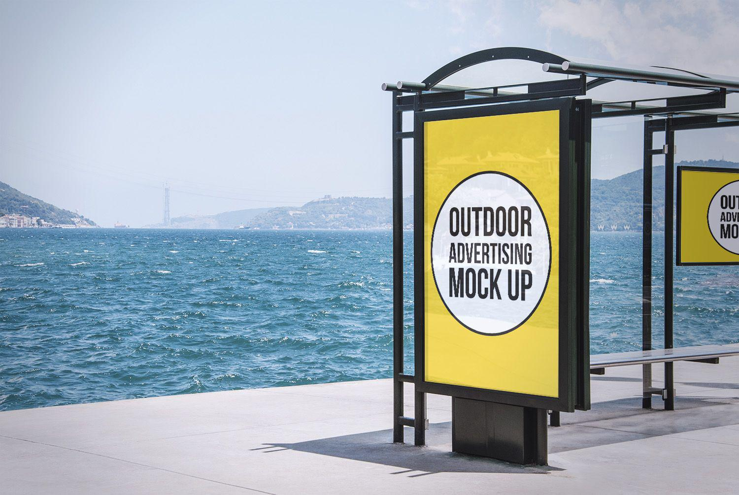 Outdoor-Advertising-Bus-Stop-Free-Mockup