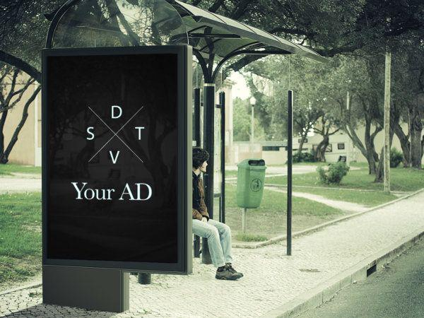 Free psd billboard ad mockup busstop