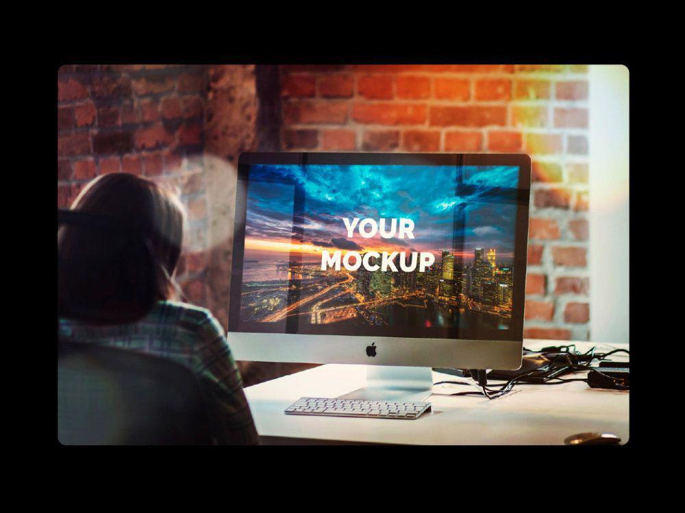 Free iMac 27 Inch Office Mockup Free