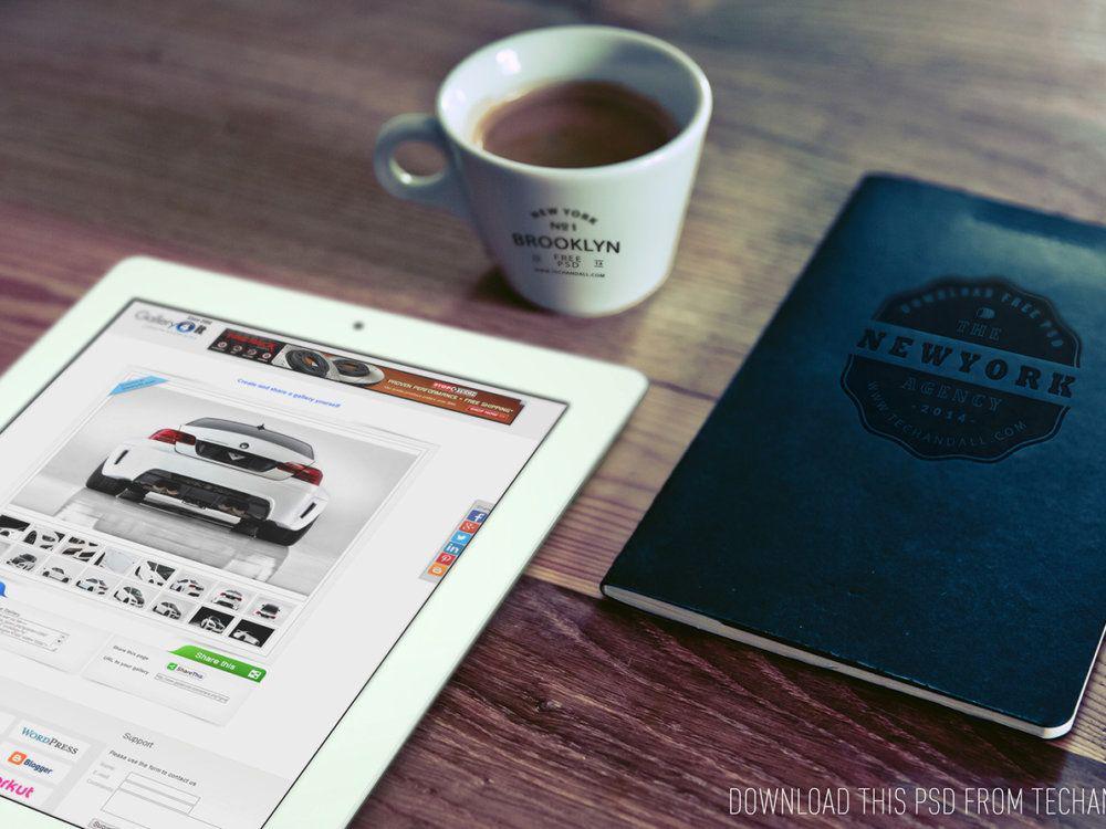 Good Morning (iPad, Cup Logo and Notebook Logo) mockup