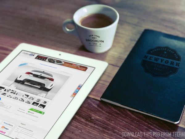 Good Morning (iPad, Cup Logo and Notebook Logo) mockup