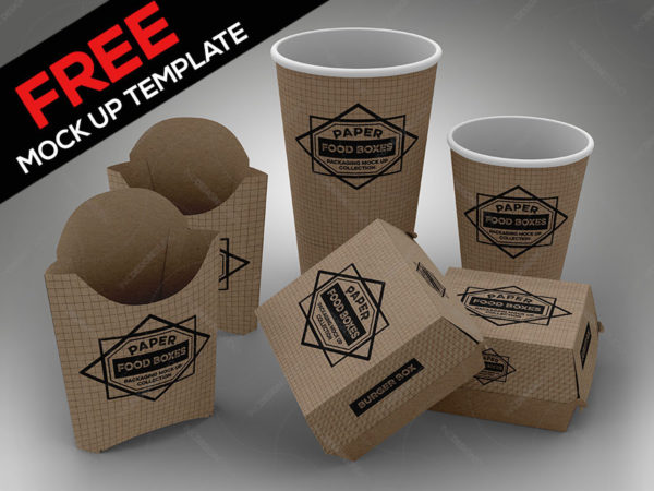 FREE Fast Food Set PSD Mock Up Template