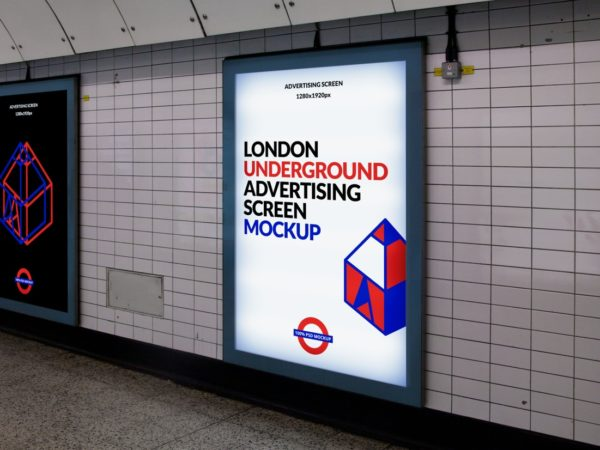 London Underground Advertising Screen Mockup