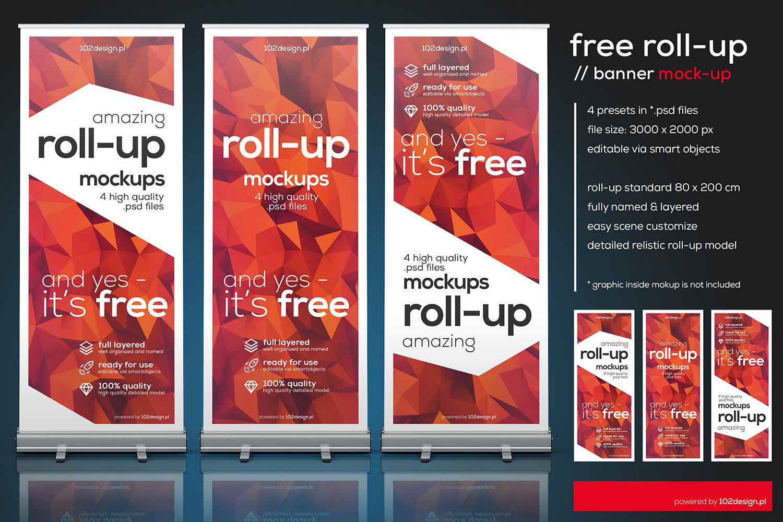 Free Psd Roll Up Mockup Free Mockup