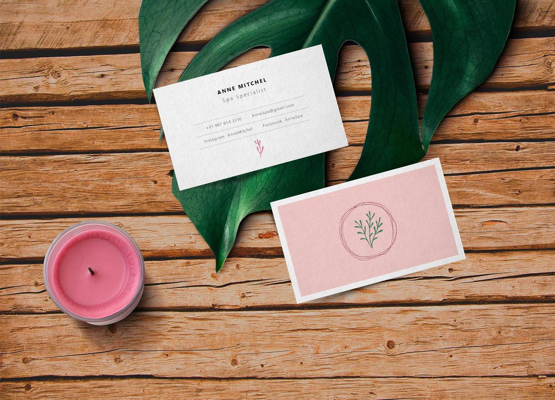 Feminine Business Card – Free PSD Mockup   Free Mockup