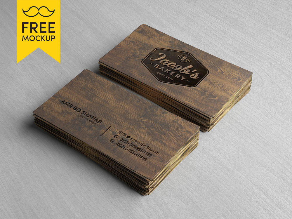 Wooden business card free psd mockup free mockup wooden business card free psd mockup colourmoves