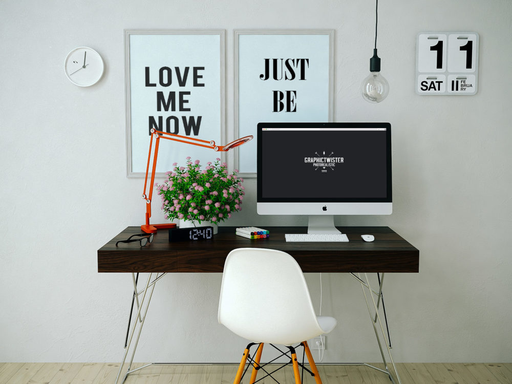 Workspace-iMac-and-2-Wall-Frames-Free-PSD-Mockup