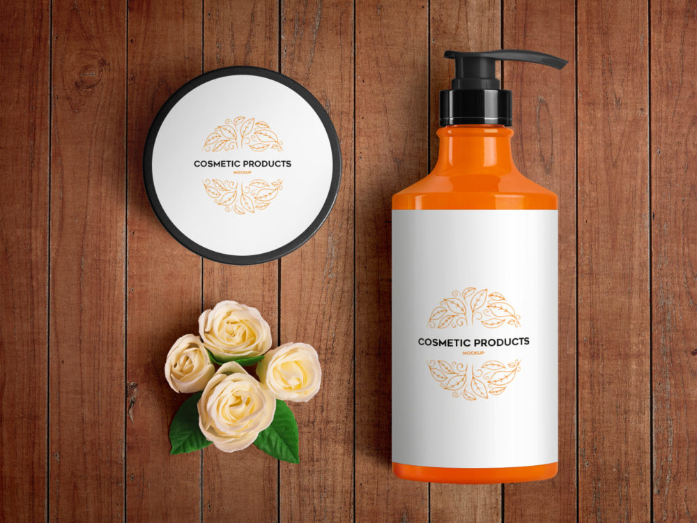 Cosmetic Bottles and Jar Free PSD Mockup