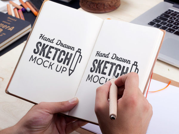 Hand-Drawn Sketch Free PSD Mockup