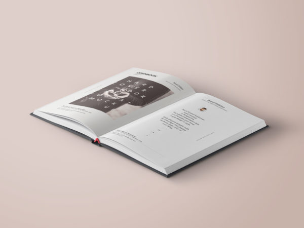 Open Hardcover Book Free PSD Mockup