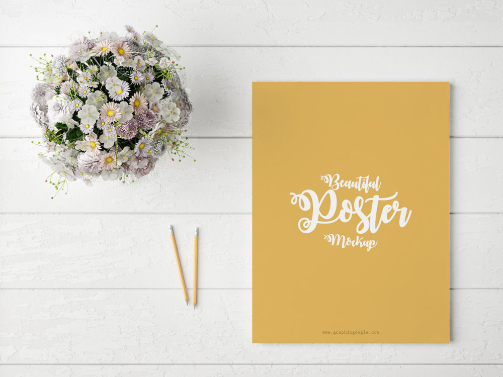 Poster With Flowers Free PSD Mockup