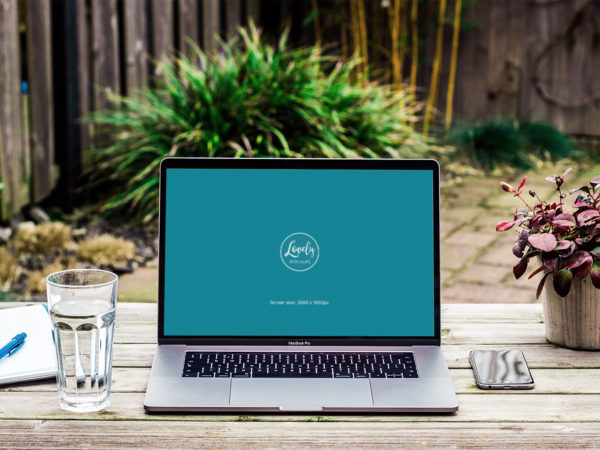 Workspace Macbook Pro Free PSD Mockup