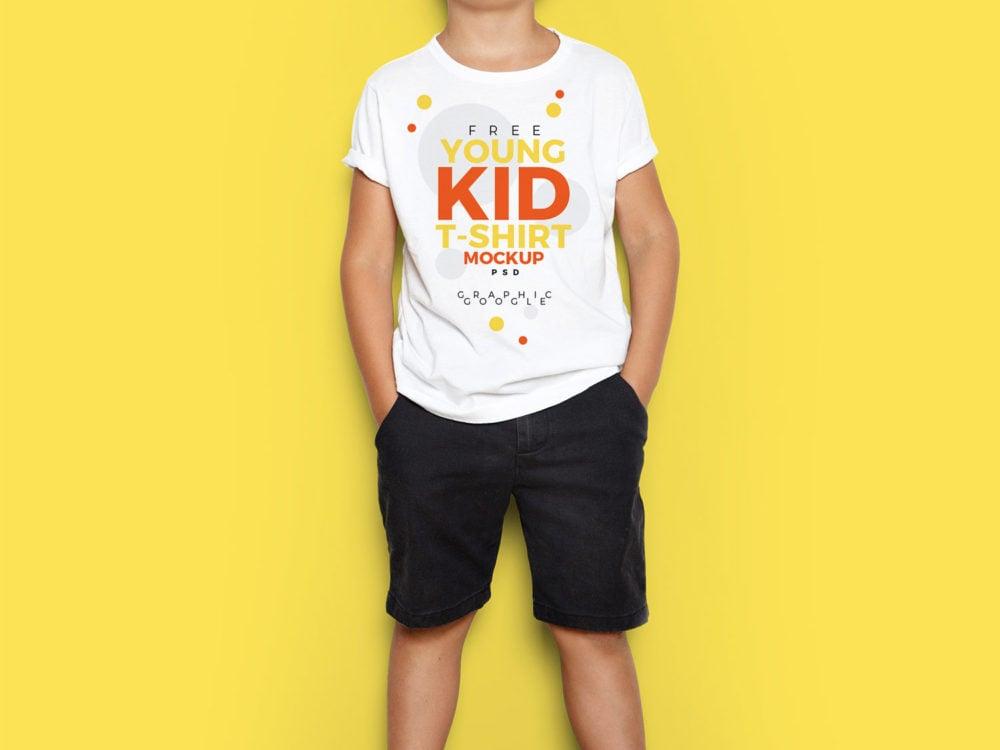 Young Kid T-Shirt Free PSD Mockup