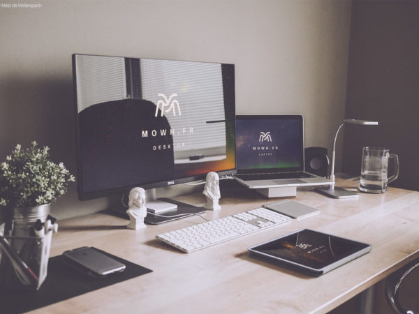 Dell and Macbook and iPad Free Workspace Mockup
