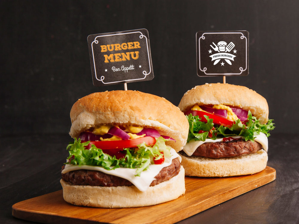 Fast Food Free Mockup with Two Hamburgers