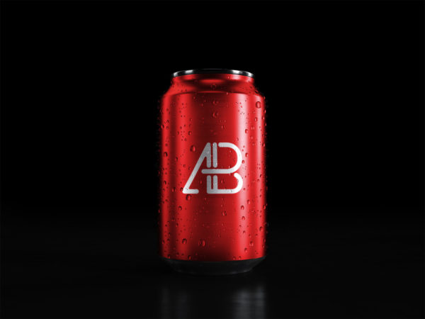 Soda Can With Water Drops Free Mockup