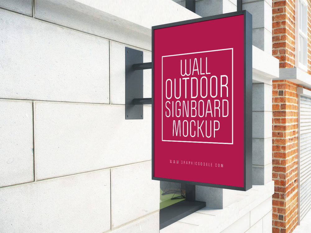 Wall Outdoor Signboard Free Mockup