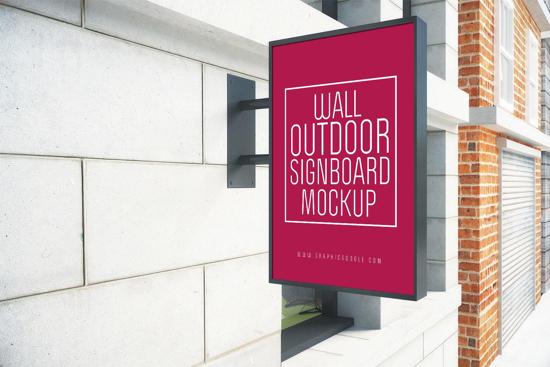 Download Wall Outdoor Signboard Free Mockup | Free Mockup