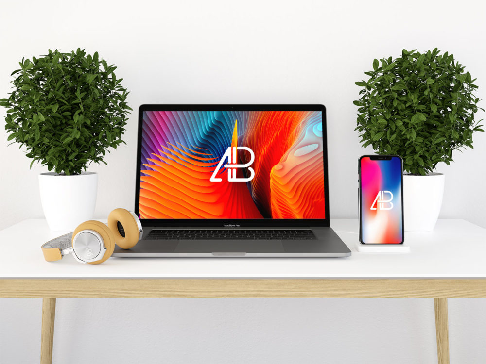 iPhone X & MacBook Pro Free Mockup