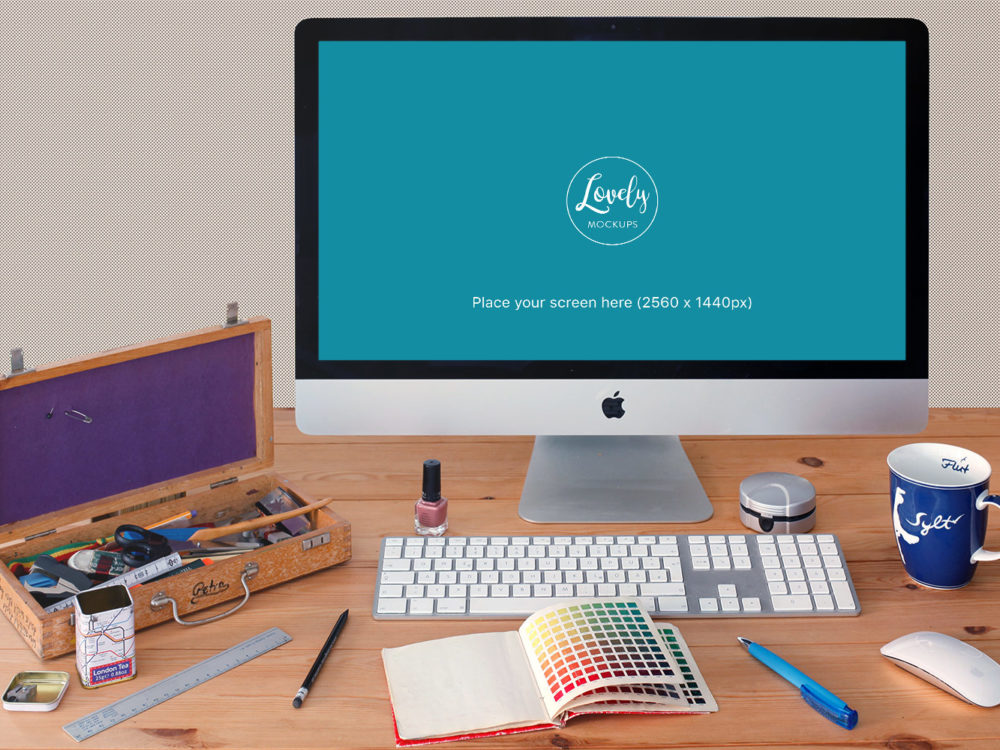 iMac on office desk free mockup