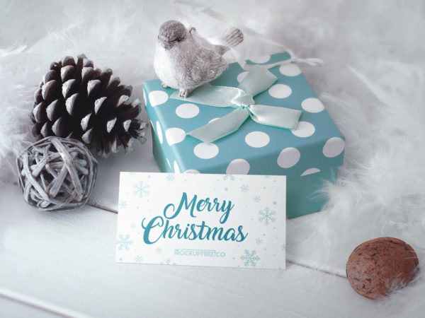 Business Card in Christmas Scenery Free Mockup