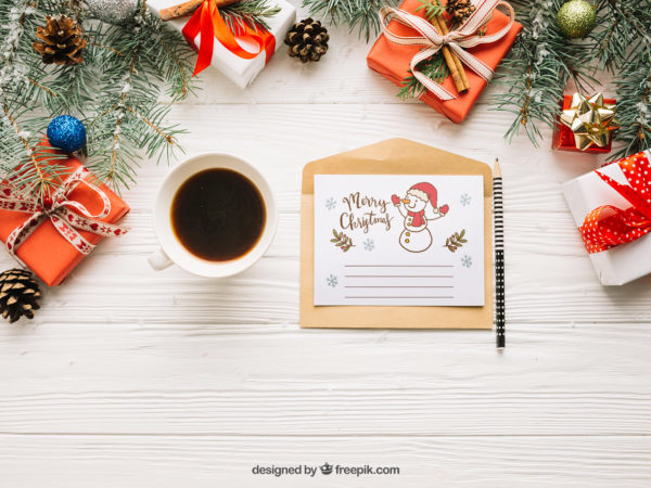 Creative letter Free Mockup with Christmas design