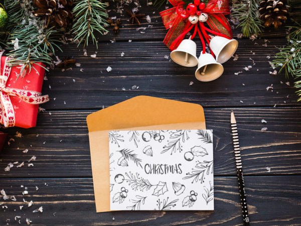 Elegant Christmas Letter Free PSD Mockup