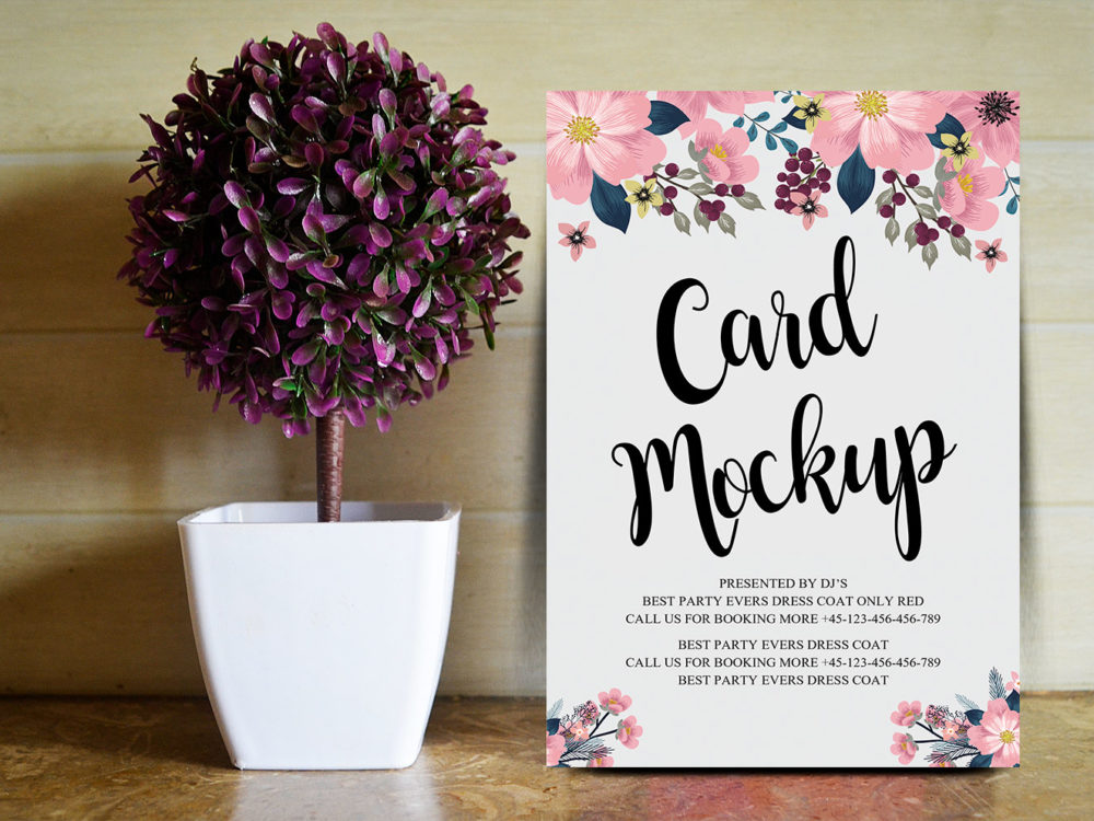 Floral Wedding Card Free PSD Mockup