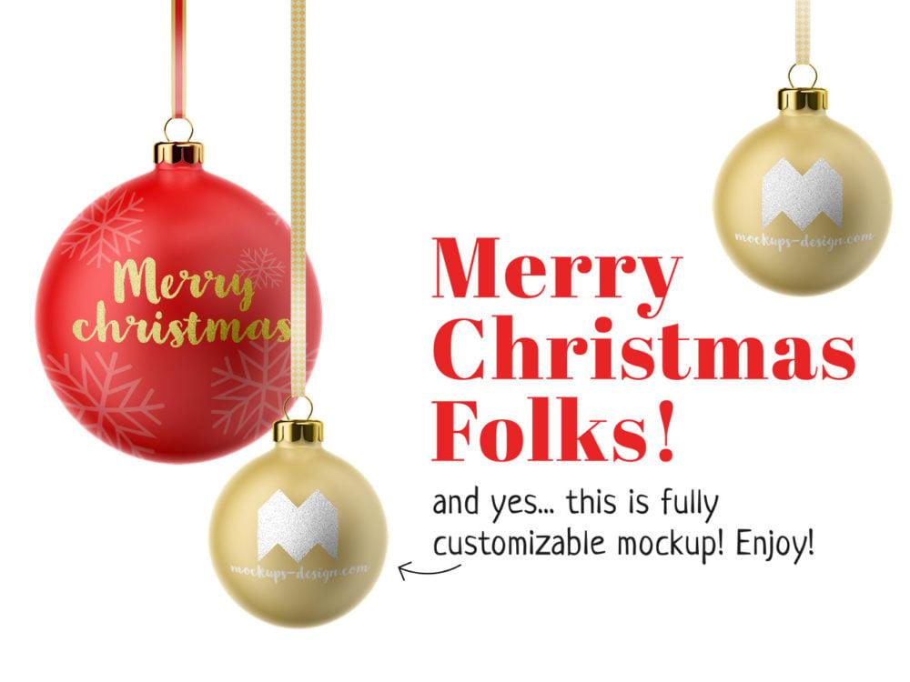 Free Christmas Balls Mockup