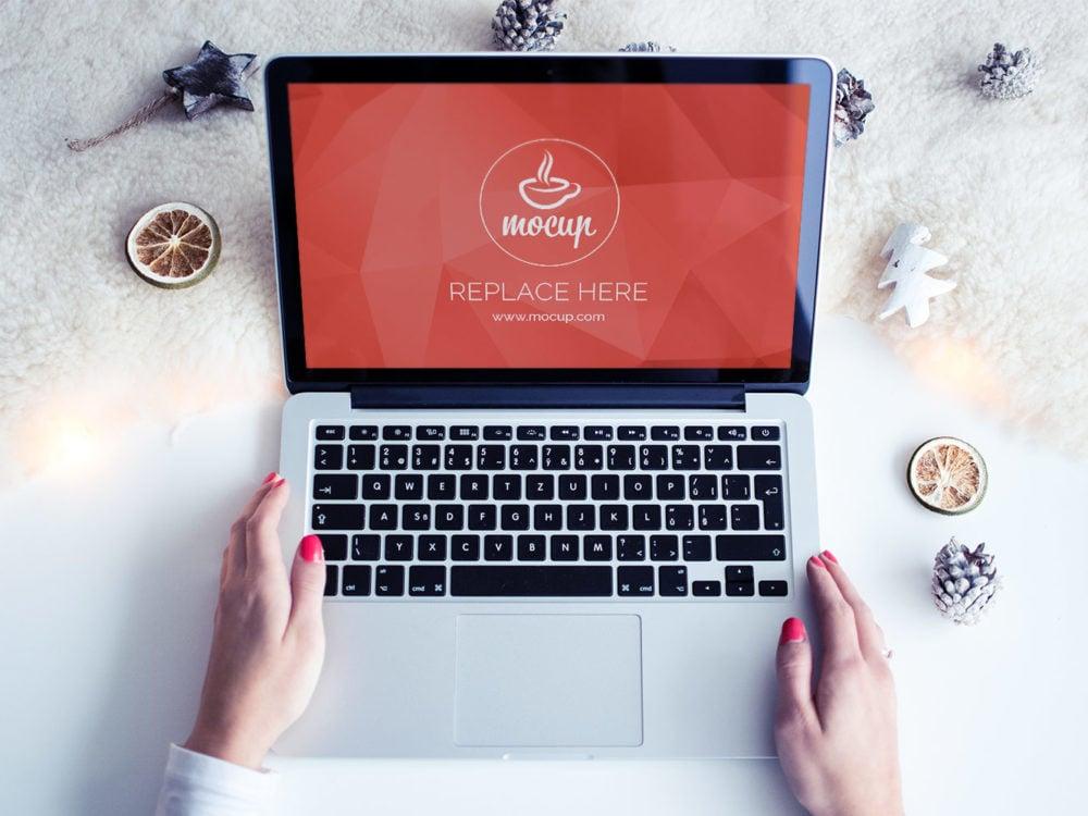 Free Christmas MacBook Mockup