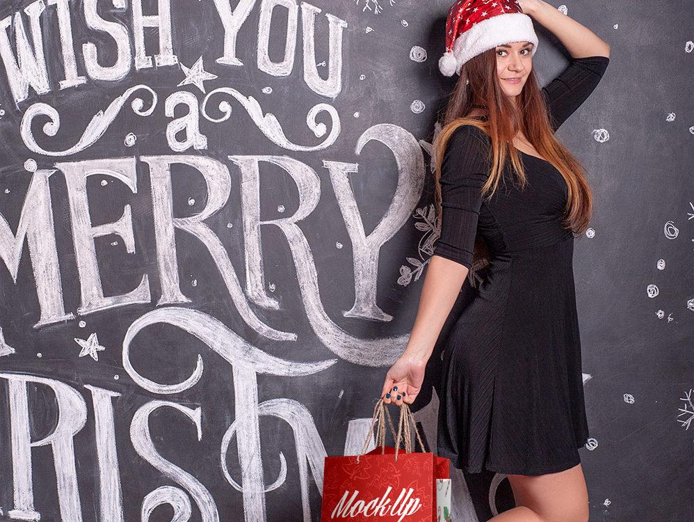 Free Christmas Shopping Bag Mockup
