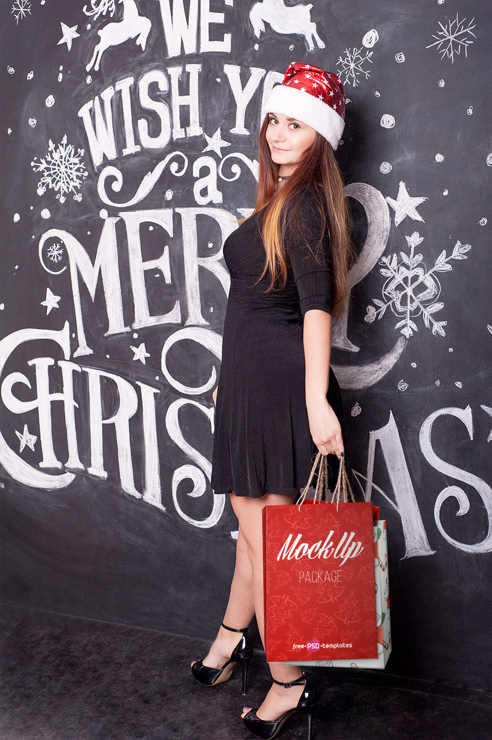 Free Christmas Shopping Bag Mockup