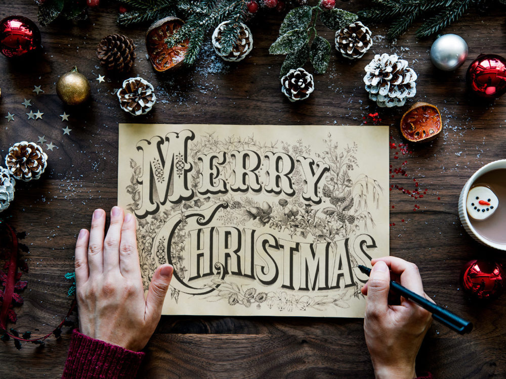 Free Hand-drawn Christmas Card Mockup