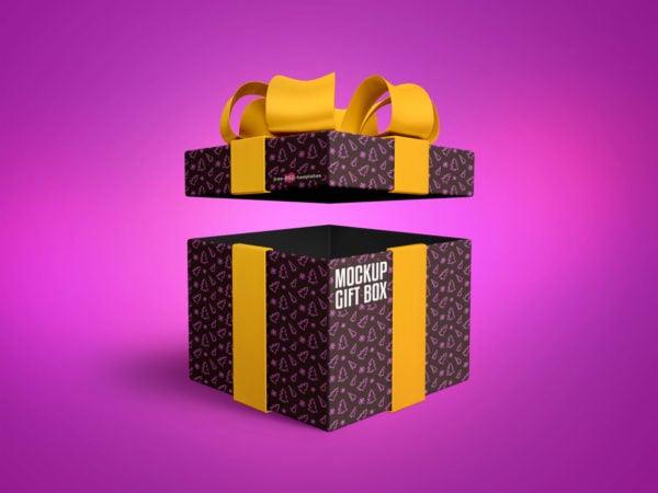 Gift Box Free PSD Mockup