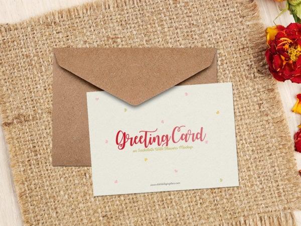 Greeting Card on Sackcloth Free Mockup