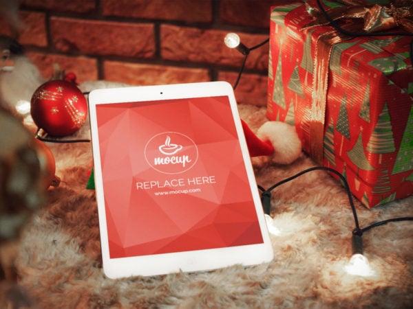 XMAS iPad Free PSD Mockup