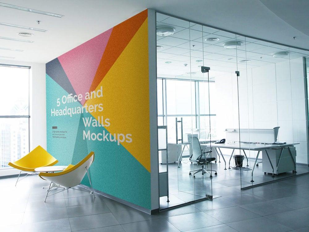 5 Free Office Interior Mockup PSD