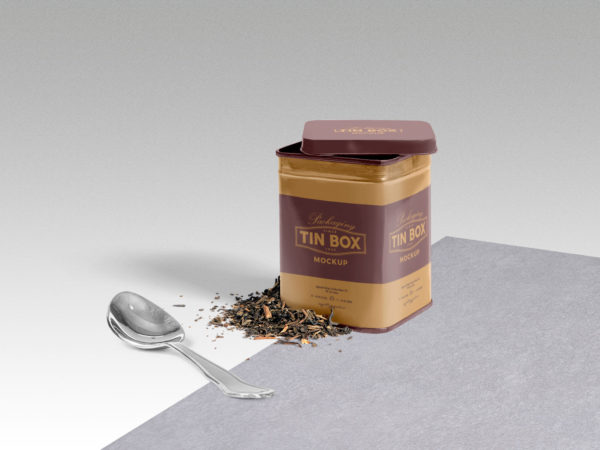 Cool Packaging Tin Box PSD Mockup