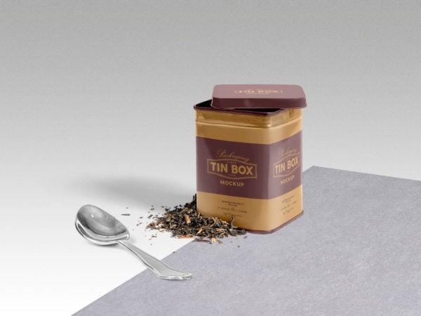 Cool Packaging Tin Box PSD Mockup