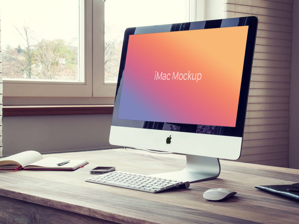 Free Apple iMac PSD Mockup
