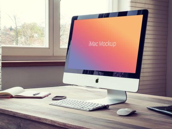 Free Apple iMac PSD Mockup