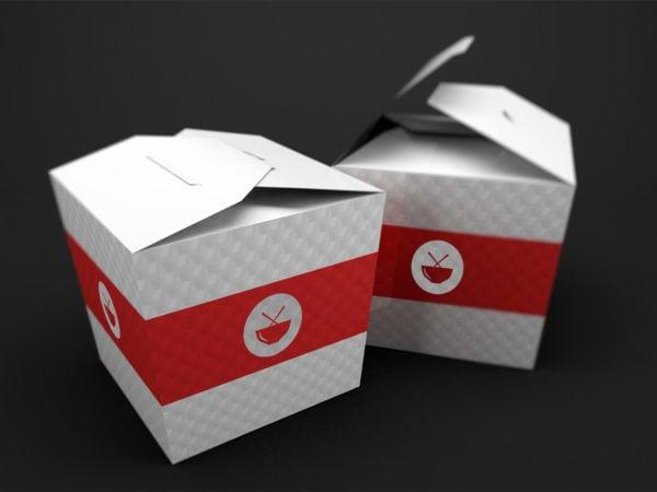 Free Food Box Branding Mockup PSD