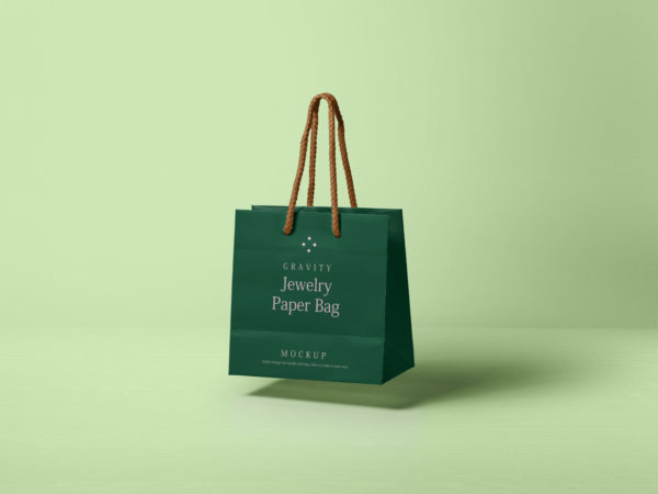 Gravity Jewelry Paper Bag Free Mockup