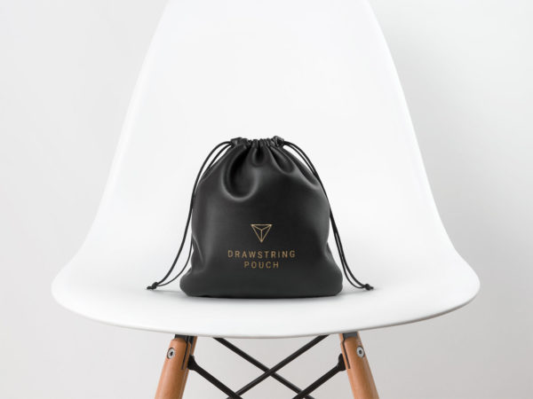 Leather Drawstring Pouch Free MockUp