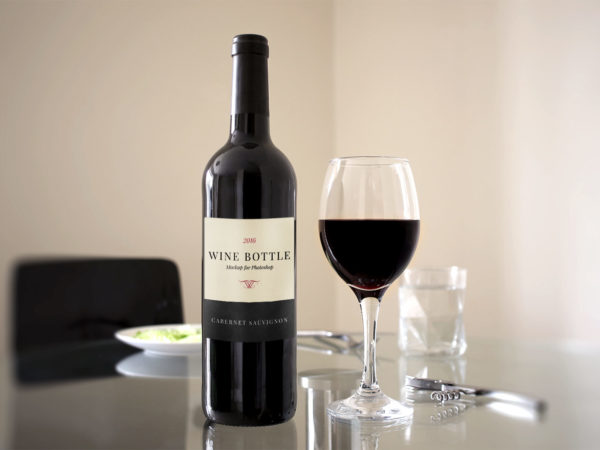 Red Wine Bottle Scene Free Mockup