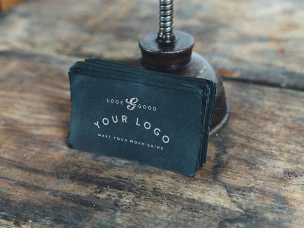 Weathered Black Card Free Mockup