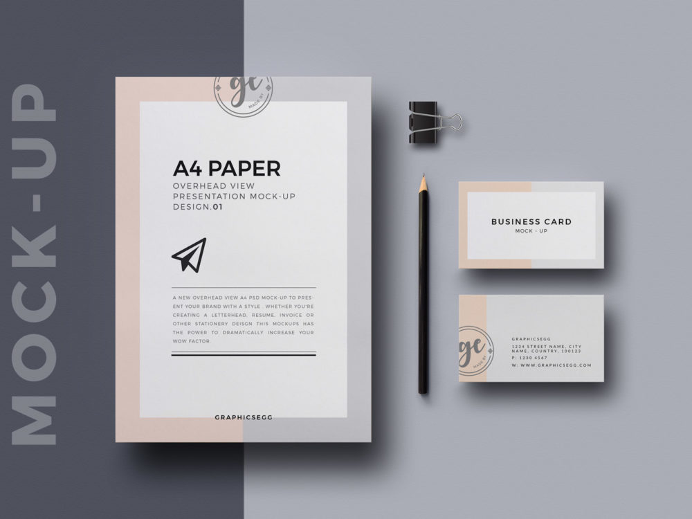 A4 Paper Overhead View Mockup