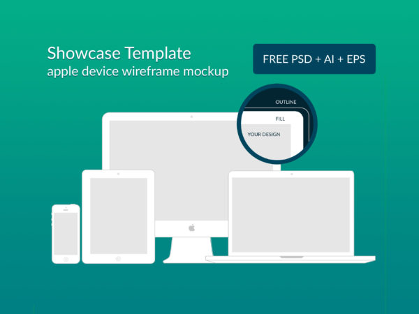 Apple Device Wireframe Responsive Mockups (PSD+AI+EPS)